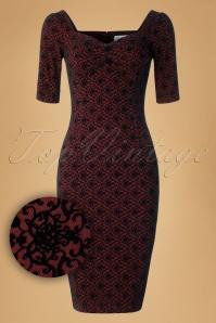 Collectif Clothing Dolores Half Sleeve Brocade Pencil Dress 18938 20160531 0008W1