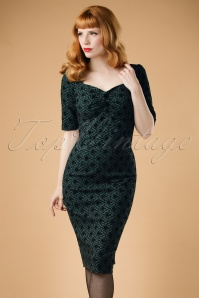 Collectif Clothing Dolores Half Sleeve Brocade Pencil Dress 18938 20160531 0008W4