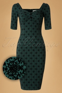 Collectif Clothing Dolores Half Sleeve Brocade Pencil Dress 18938 20160531 0008W1