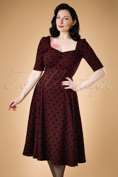 Collectif Clothing Dolores Doll Half Sleeve Brocade Swing Dress 18947 20160601 model01VW