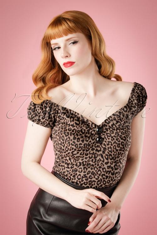 Collectif Clothing Dolores Leopard Velvet Top 18861 20160601 0019W