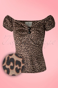 Collectif Clothing Dolores Leopard Velvet Top 18861 20160601 0005W1