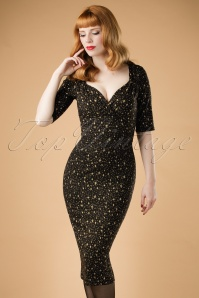 50s Trixie Atomic Star Pencil Dress in Black