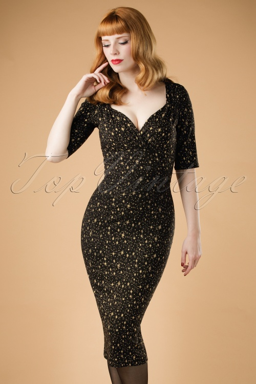 Collectif Clothing Trixie Atomic Star Pencil Dress 18874 20160531 model01W