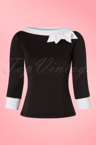 TopVintage Exclusive ~ 50s Bianca Bow Boatneck Top in Black