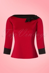 TopVintage Exclusive ~ 50s Bianca Bow Boatneck Top in Red
