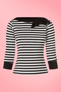 TopVintage Exclusive ~ 50s Bianca Bow Boatneck Top in Black and White Stripes