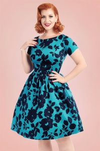 50s Eloise Floral Swing Dress in Teal