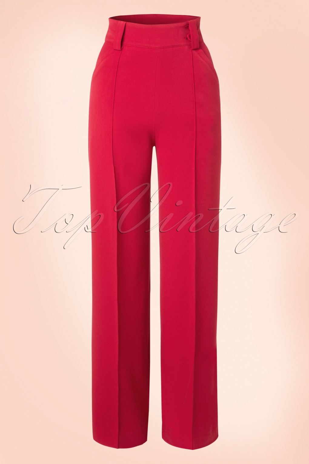 1940s Style Pants & Overalls- Wide Leg, High Waist 40s Melissa Trousers in Red £63.62 AT vintagedancer.com