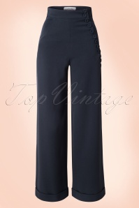 40s Nicolette High Waisted Swing Trousers in Navy