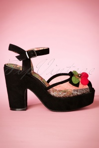 30s Calypso Suede Sandals in Black