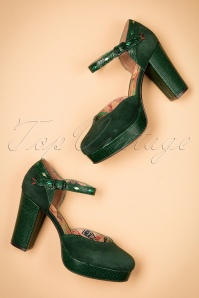 70s Christie Leather Pumps in Dark Green