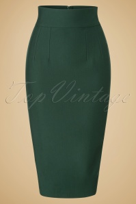 50s Debra Wiggle Skirt in Forest Green