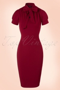Vintage Chic 50s Bonnie Dress in Wine Red 100 20 19516 20161013 0004W