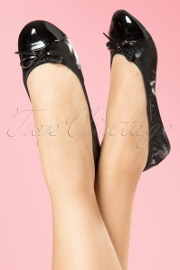 Foldable Ballerina Olivia Quilted Patent Toe in Black