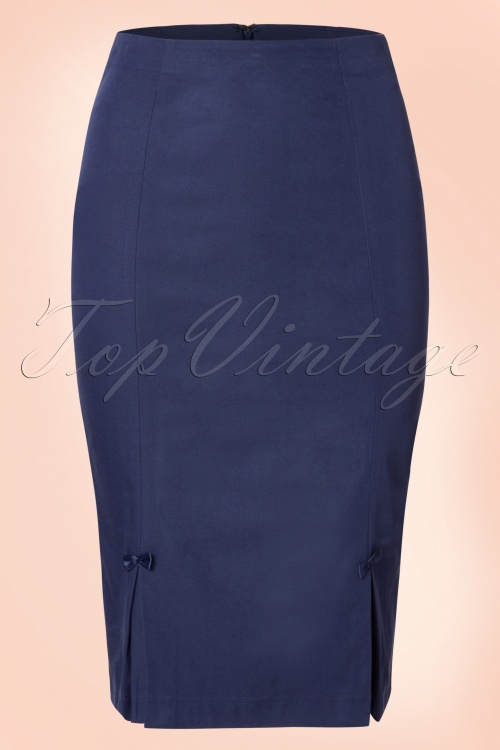 Dancing Days by Banned Navy Blue Bow Pencil Skirt 120 31 19712 20161014 0003W