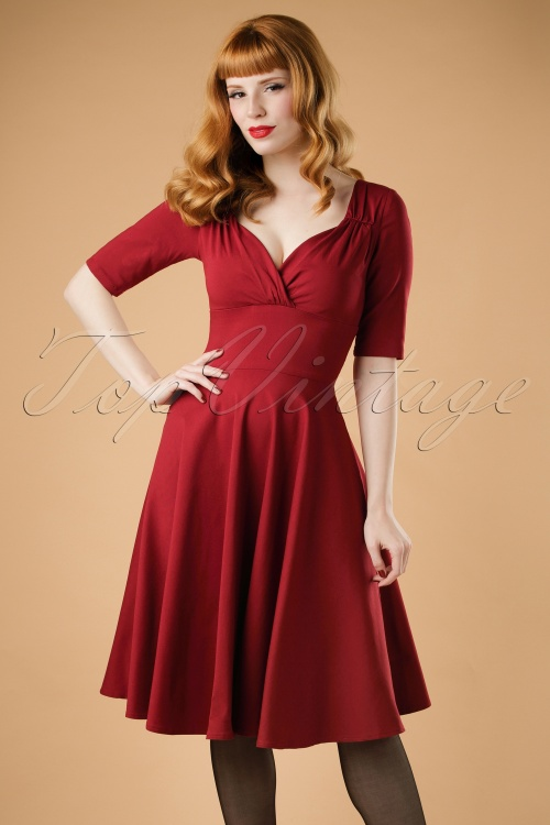 Collectif Clothing Trixie Doll Dress in Wine 18881 20160601 modelW