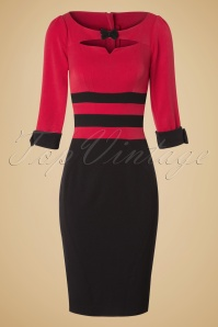 50s Riverside Holly Bow Pencil Dress in Black and Red