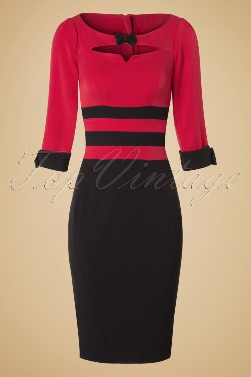 Miss Candyfloss Jacquard Black and Red Pencil Dress 100 10 19333 20161014 0005w