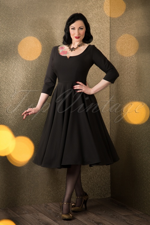 Glamour Bunny Serena Swing Dress Black 102 10 16207 11052015 004W