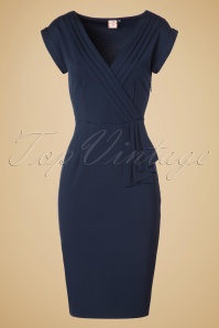 50s Evening Chic Pencil Dress in Navy