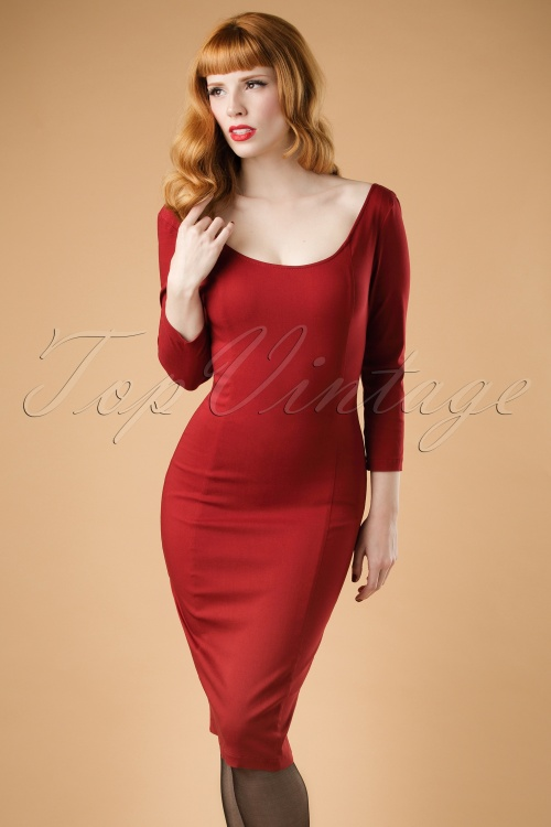 Collectif Clothing Tempest Pencil Dress in Wine Red 18877 20160601 0018W