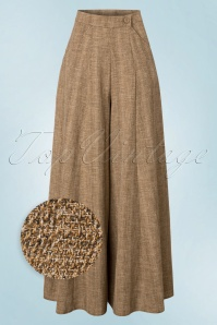 40s Luna Palazzo Trousers in Sand