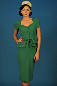 50s Rosemary Peplum Dress in Vintage Green