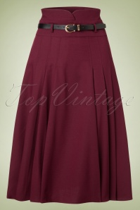 Collectif Clothing Elsa Flared Wine Red Skirt 122 20 18912 20161019 0004W
