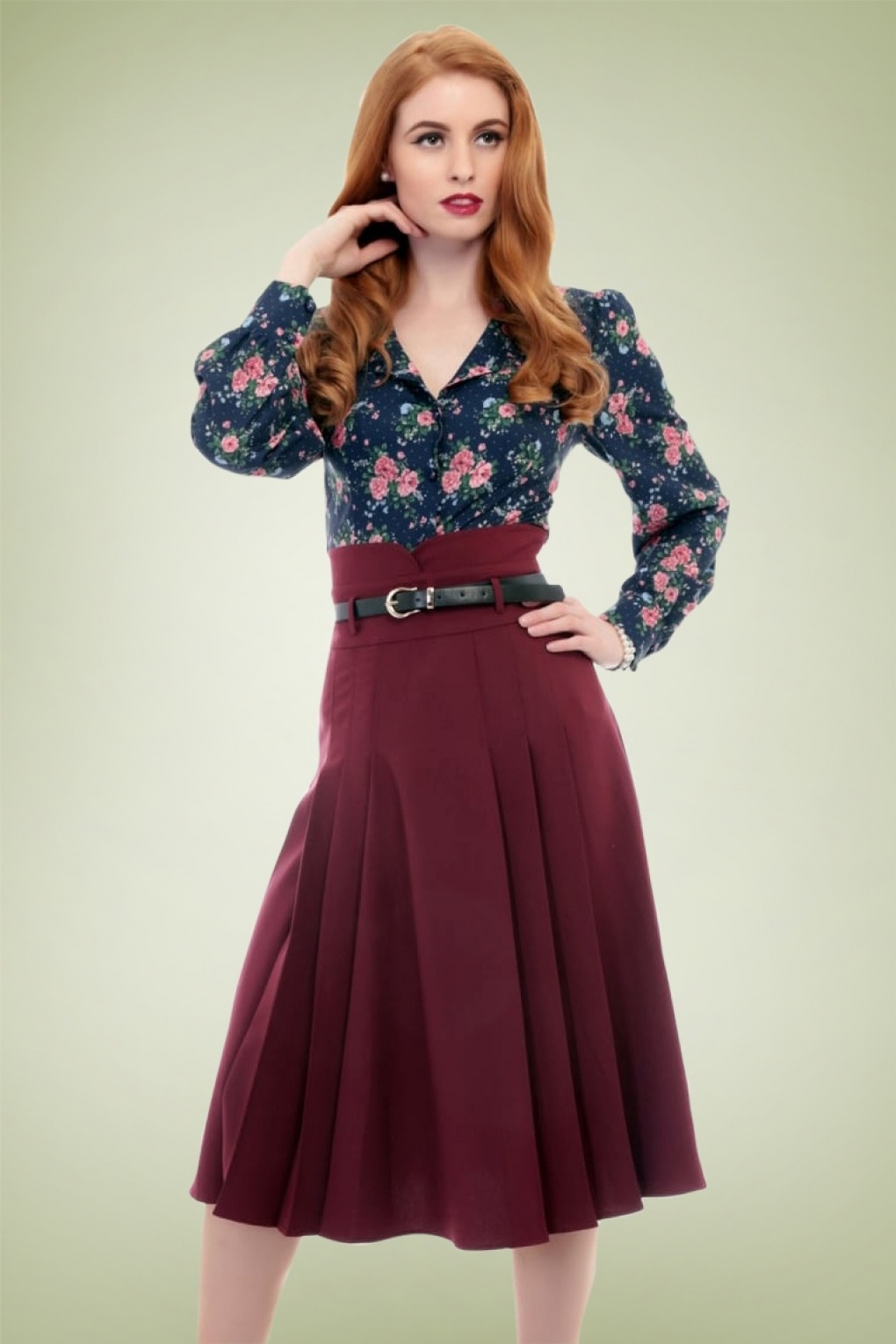 1940s Style Skirts- High Waist Vintage Skirts 40s Elsa Flared Skirt in Wine Red £59.51 AT vintagedancer.com