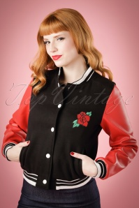50s Britney Rose College Jacket in Black and Red