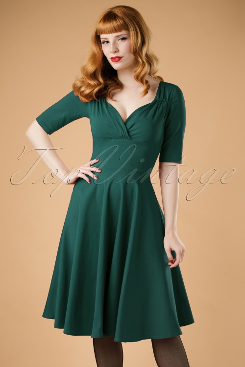 Collectif Clothing Trixie Swing Dress in Teal 16121 20160531 ModelW
