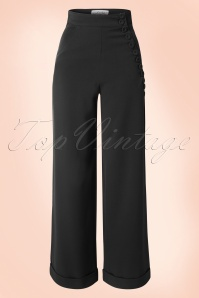 40s Nicolette High Waisted Stretch Trousers in Black