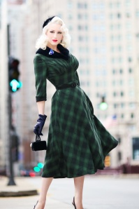 Vixen 40s Lola Tartan Swing Dress in Green