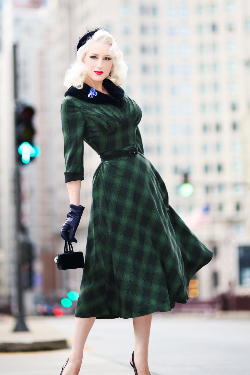 Plus Size Vintage Dresses, Plus Size Retro Dresses 40s Lola Tartan Swing Dress in Green £64.25 AT vintagedancer.com