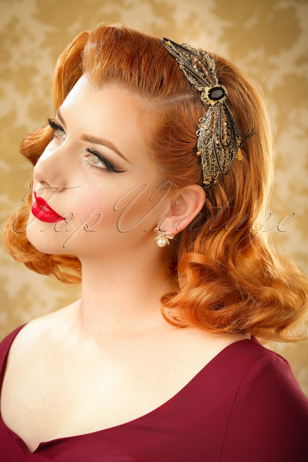30s Glamorous Isabella Hair Band In Black And Gold