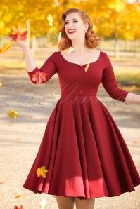 50s Serena Swing Dress in Burgundy