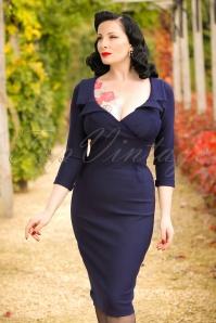 50s Lottie Pencil Dress in Navy