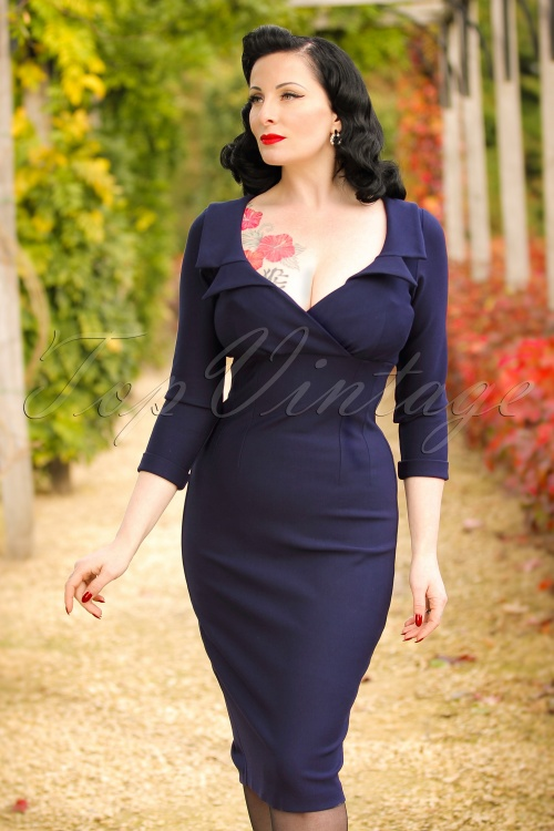 Glamour Bunny Lottie Pencil Dress in Navy Blue 100 31 19686 20161014 0015 modelfoto2W