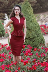 50s Karen Peplum Pencil Dress in Burgundy