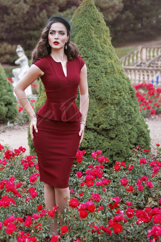 Vintage Suits Women | Work Wear & Office Wear 50s Karen Peplum Pencil Dress in Burgundy £48.94 AT vintagedancer.com