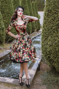 Hearts and Roses Black Floral Swing Dress 102 14 17110 20151124 001ModelW