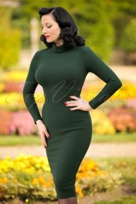 60s Lauren Pencil Dress in Forest Green