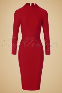 60s Lauren Pencil Dress in Red