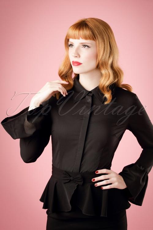Bright and Beatiful Savannah Flared Sleeve Blouse in Black 18822 20160531 model01cw