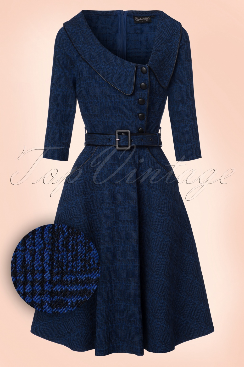 1940s Style Dresses and Clothing 40s Lilly Swing Dress in Dark Blue £55.07 AT vintagedancer.com