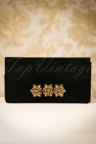 30s Virginia Velvet Clutch in Black