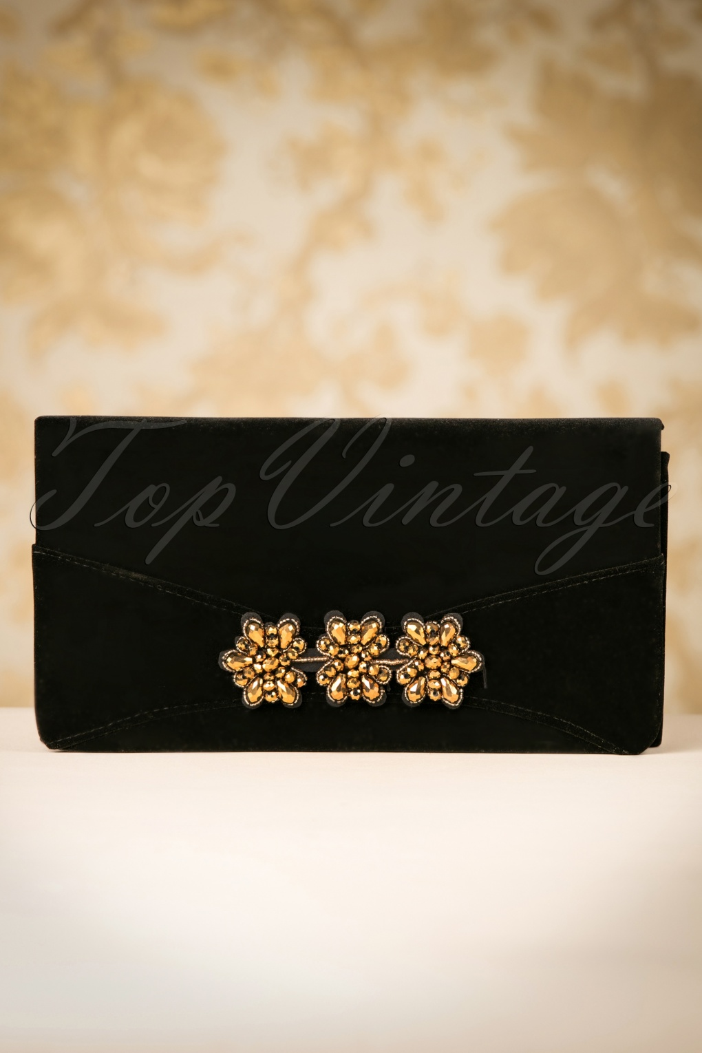 Retro Handbags, Purses, Wallets, Bags 30s Virginia Velvet Clutch in Black £14.76 AT vintagedancer.com