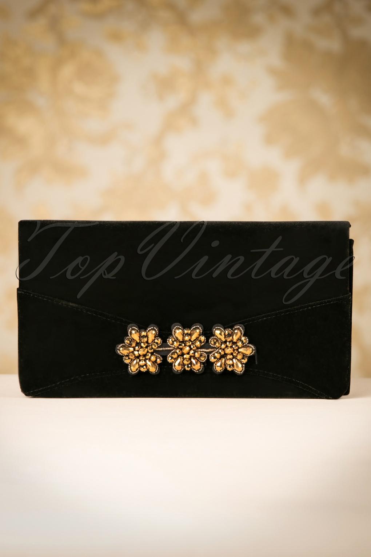 1930s Handbags and Purses Fashion 30s Virginia Velvet Clutch in Black £14.76 AT vintagedancer.com