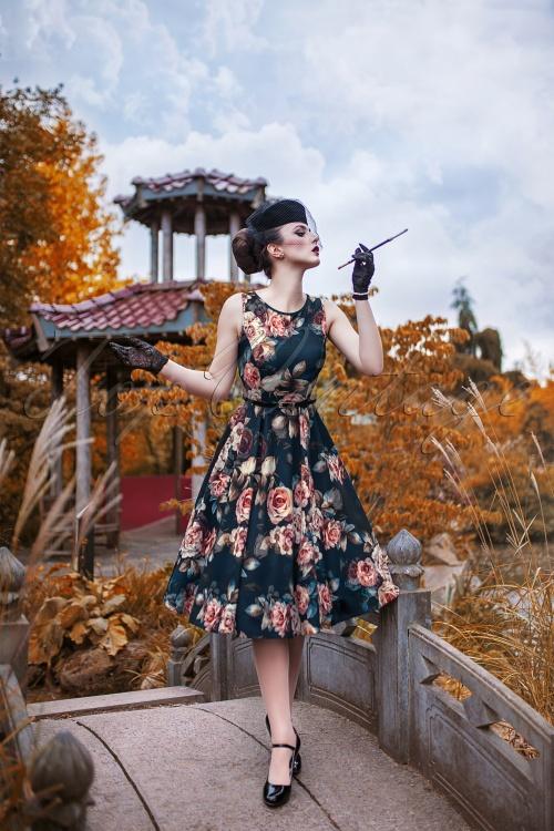 Lady V Hepburn Dress Sapphire Rose 102 39 20049 20161004 001W
